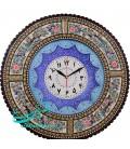Khatamkari clock excellent 47 cm with flat mina crescent arabesque