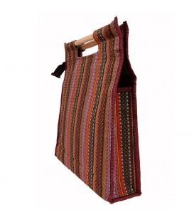 Ghalamkari bag with wooden hand squar rug design 42 cm