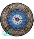 Khatamkari clock 47 cm round flower and bird
