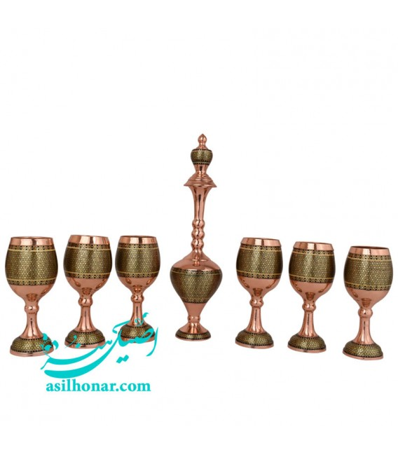 Khatamkari sake jug and glass set