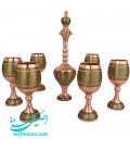 Khatamkari sake jug and glass set excellent with eye khatam design