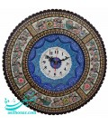 Khatamkari round clock 42 cm flower and bird crescent