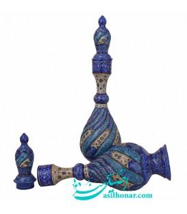 Paire de carafes en cuivre en émail 37 cm arabesque khatai