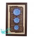 Tableau de trois assiettes en émail dessin arabesque khatai