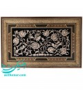 Ghalam-Zani wall hanging 50x80 flower and bird zith khatam toranj frame