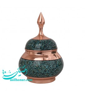 Tiny turquoise inlaying sugar bowl 14 cm