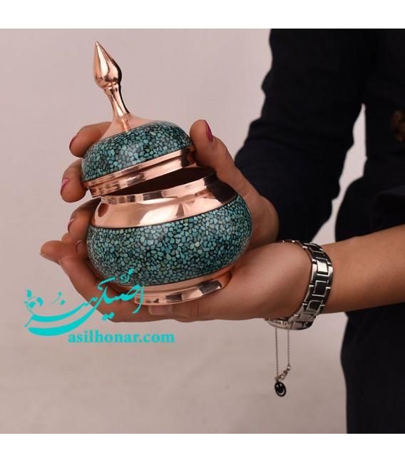 Tiny turquoise inlaying sugar bowl