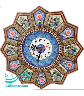 Khatamkari clock solar 32 cm with mina plat crescent