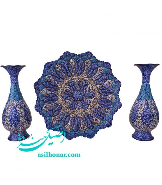 Minakari flower vase and plate