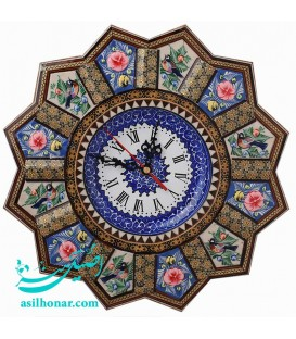 Khatamkari clock 32 cm plate flower and bird designe