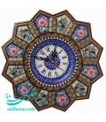 Khatamkari clock 32 cm plate flower and bird designe