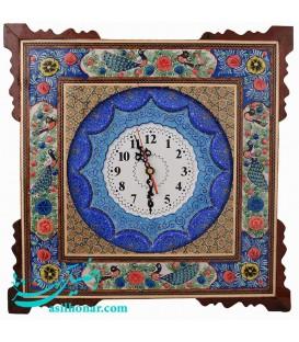 ساعت مربعی 42 سانتی خاتم اصفهان نقش گُل و مرغ و صفحه مینا قُلی