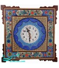 Isfahan khatamkari clock 42 cm flower and bird designe