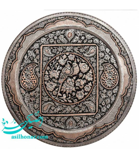 Ghalamzani copper tray round