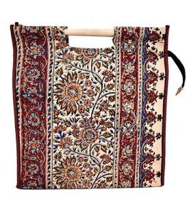 Ghalamkari bag with wooden hand