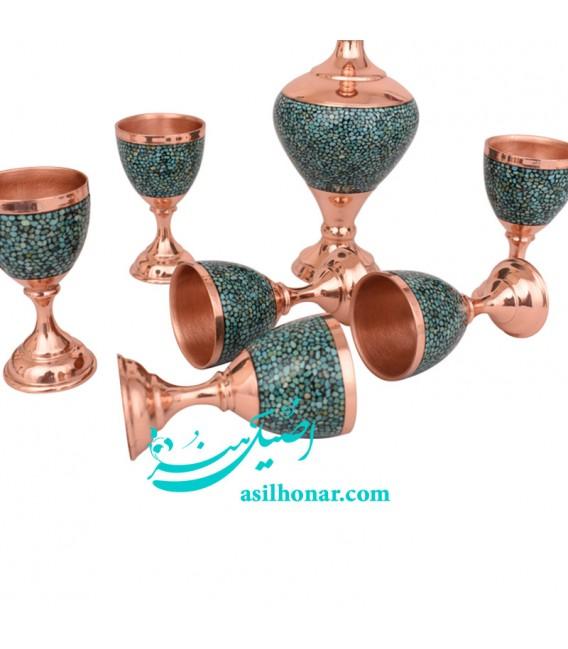 Turquoise inlaying sake jug and glass set
