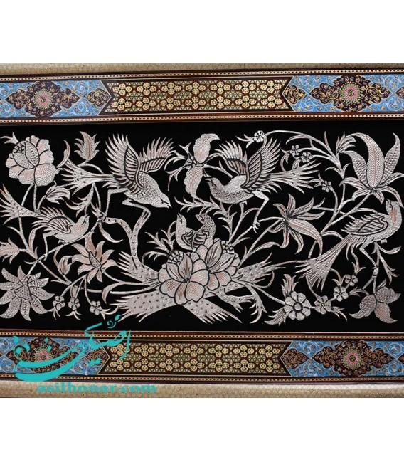 قاب قلمزنی نقش تذهیب و گل و مرغ ابعاد 83×53 سانتیمتر