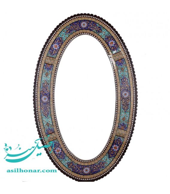 آینه با قاب چوبی خاتم با نقاشی تذهیب 48در 78سانتیمتر