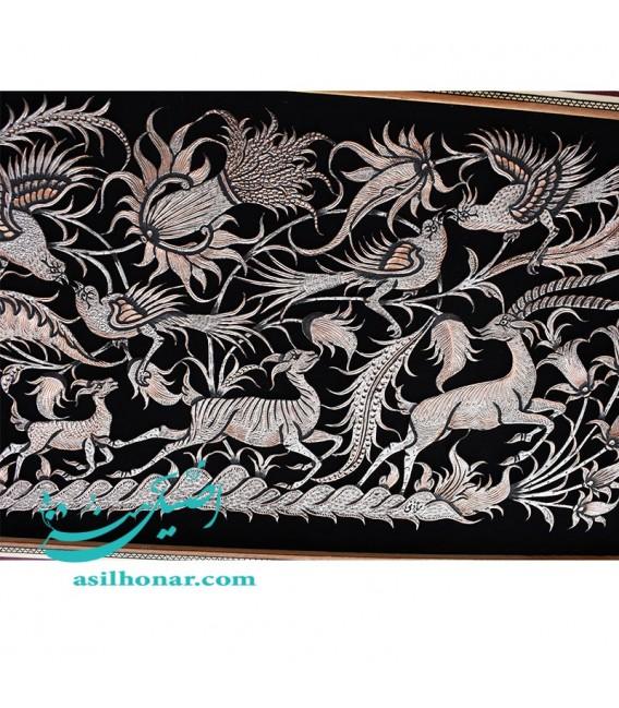تابلو دیواری قلمزنی باقاب خاتم ابعاد 81×51 سانتیمتر