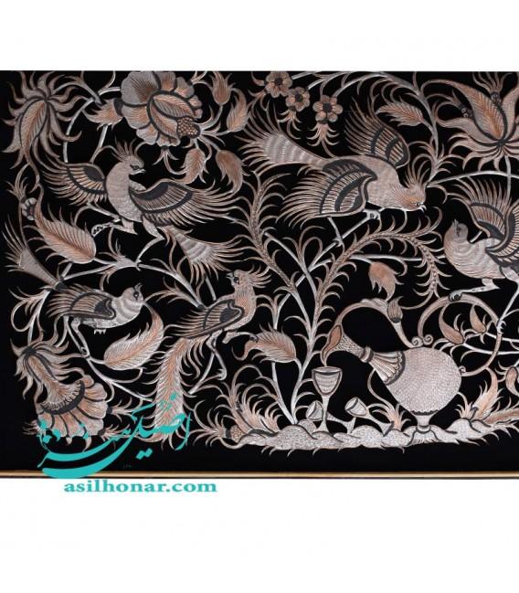 تابلوی بزرگ قلمزنی گل و مرغ با قاب خاتم ممتاز 102×62 سانتیمتری