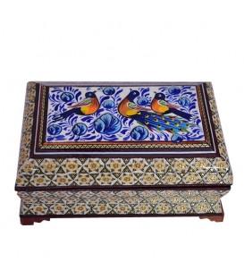 جعبه جواهرات و سکه خاتم با نقاشی گل و مرغ