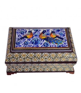 Khatamkari jewel box with flower and bird painting