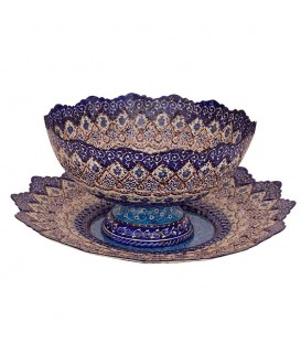 Minakari bowl and plate 30 cm arabesque khatai