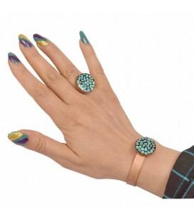 Turquoise inlaying ring and bracelet set
