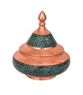 Turquoise inlaying sugar bowl