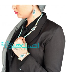 Turquoise inlaying necklace ,bracelet and earrings set
