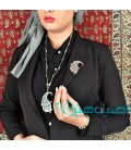 Turquoise inlaying necklace and brooch set