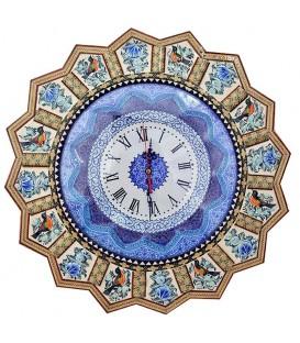 ساعت خاتم کاری 47 سانتی گل و مرغ با صفحه مینای قلی