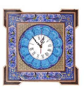 ساعت مربعی خاتم با نقاشی گل و مرغ و صفحه مینای قلی