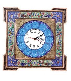 ساعت خاتم گل و مرغ با صفحه مینای قلی