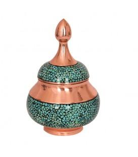 Turquoise inlaying sugar bowl 14 cm
