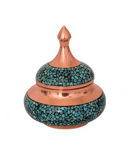 Tiny turquoise inlaying sugar bowl 10 cm