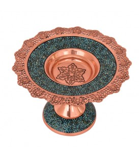 Turquoise inlaying bakery container 20 cm Isfahan