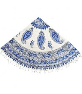Ghalamkari round tablecloth 1.5 m paisley blue design