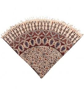 Ghalamkari round tablecloth traditional 1.5 m almond