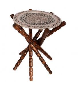 میز سینی قلمزنی 40 سانتی پایه دار چوبی