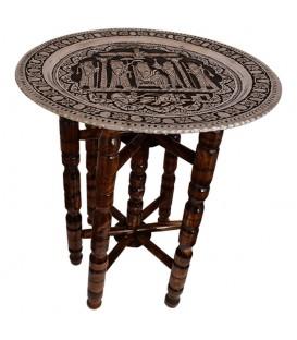 میز سینی قلمزنی 50 سانتی طرح تخت جمشید با پایه چوبی