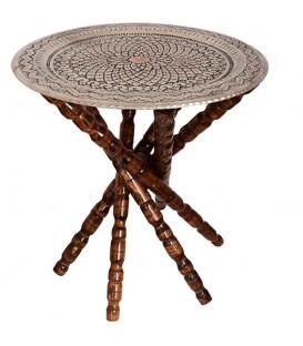 میز سینی قلمزنی 50 سانتی با پایه چوبی