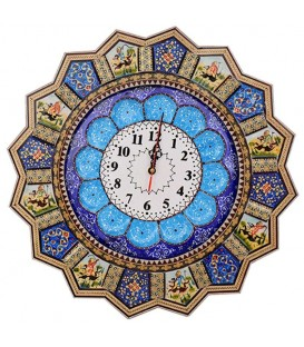 Khatamkari clock 48 cm solar hunting with flat mina crescent