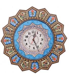 ساعت 48 سانتی خاتم خورشیدی طرح گل و مرغ با صفحه مینای قلی