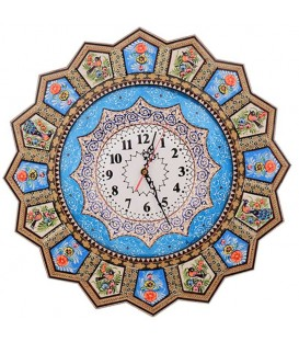 Khatamkari clock 48 cm solar flower and bird with flat mina crescent