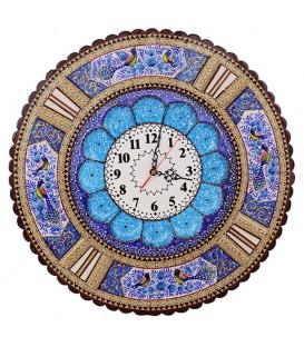 Khatamkari clock round 48 cm with flat mina crescent
