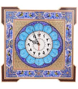 Khatamkari clock squar 44 cm with flat mina crescent